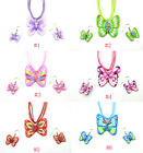 Many Butterfly 1Sets Multicolor Polymer Clay FIMO Silk Chain Necklace+Earrings