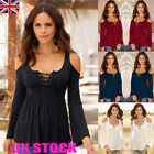 UK Womens Plus Size T Shirt Tops Cold Shoulder Casual Loose Long Sleeve Blouses
