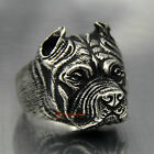 Cool Gift Mens Boys Pitbull Dog Silver 316L Stainless Steel  Ring Jewelry 3sizes