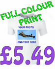 Personalised T shirt Custom Photo, Text or Both  white Fruit of The Loom T shirt