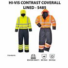 New HI VIS Waterproof Coverall Lined Hooded Warm BoilerSuit Safety Workwear S485