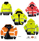 Portwest 3 in1 Bomber Jacket Work Padded HI VIS Zip-Out Sleeves S - 6XL C465