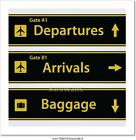 Airport Signs Vector Illustration Art Print Home Decor Wall Art Poster - B