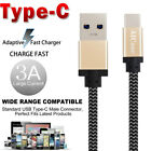 3A USB Type-C Braided Fast Charger Charging Data Cable w/ Strap F Samsung Lot