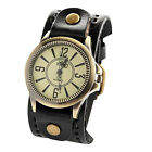 Vintage Mens Womens Steampunk Watches Big Wide Leather Wristband Strap Bracelet.