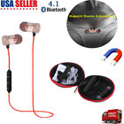 Bluetooth 4.1 Stereo Earphone Headset Wireless Magnetic In-ear Earbuds Headphone