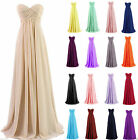 Strapless Chiffon Formal Party Cocktail Evening Prom Bridesmaid Dresses Size6-18
