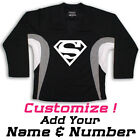 Superman Print On A Multi Color Hockey Jersey Optional Name & Number - Black