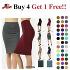 High Waisted Womens Pencil Office Skirt Cotton Stretch Knee Length REG PLUS S-3X