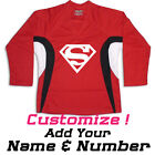 Superman Print On A Multi Color Hockey Jersey Optional Name & Number - Red