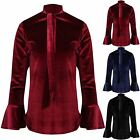 Womens Front Tie Knot Neck Velvet Velour Ladies Frill Bell Sleeve T Shirt Top