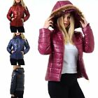 Womens Ladies Padded Quilted Puffer Bubble Faux Fur Hooded Zipper Up Coat Jacket