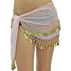 WOMENS CHIFFON BELLY DANCE HIP SCARF WRAP WITH GOLD COINS