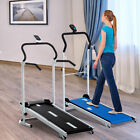 Twin Flywheel Walking Folding Portable Manual Treadmill Home Gym Cardio Fitness