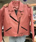 PINK LEATHER MOTORCYCLE JACKET SMALL TO XL NEW 283