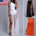 Women Skirt Elastic Waist Chiffon Long Maxi Beach Dress Chiffon Beach Long Skirt