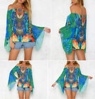 Lily Rosie Girl Green Print Women Blouse Flare Sleeve Sexy Summer Beach Top