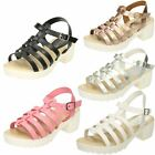 Girls Spot On Chunky Heeled Retro Look Sandals H1066