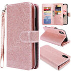 Fr Apple iPhone X 7 8 Plus Bling Glitter Leather Flip Cover Wristlet Wallet Case