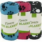 Super Soft Fleece Pet Blanket Home Car Basket Kennel Paw Print Large Cosy Cover