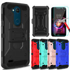 For LG X Charge/Fiesta LTE Armor Case With Kickstand Belt Clip+Screen Protector