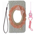 Handmade Luxury Leather Bling Pink lace mirror Wallet Phone Case Cover & strap O