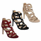Ladies Sandals Womens Stiletto Heel Suede Look Open Toe Studs Shoes Party New