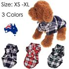 Smart casual Plaid T-Shirt Cotton Red Green Blue  Dog Cat Pet Clothes Warm S-L
