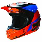 Fox Racing V1 MX Helmet Mako Series Orange/Blue Mens 14406-009