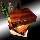 Wooden Wine Box Bottle - Gift Decoupage Craft Chest - 3 Spaces + 3 Bottles