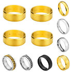 Men Couple Stainless Steel Engraved Text Gold Wedding Band Ring Valentine's Gift
