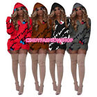 American Women Ladies Hooded Sexy Short Mini Novelty Pattern Sexy Dress (D)