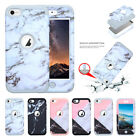 For iPod Touch 6 Case Marble Series Hybrid Hard PC Soft Silicone Protect Cover