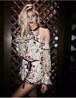 Alexis Brenna Off the shoulder Romper Floral Embroidered in ivory NEW L