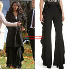 Alice+Olivia WALLACE SIDE RUFFLE Flared PANT High Waist in black new AUTH $395