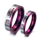 Purple Classic Stainless Steel White CZ Pave Setting Couple Ring Valentine's Day