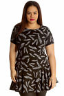 New Womens Plus Size Tunic Ladies Dress Leaf Print Peplum Top Frill Style Short