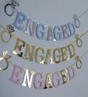 ENGAGED BANNER ENGAGEMENT PARTY DECORATION gold SILVER PINK BLUE with RINGS
