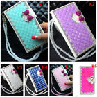 Custom-made Leather Flip Bling Diamond Wallet Case Girls' Phone Cover & strap 20