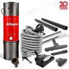 Deluxe Allegro Central Vacuum Vac 6000 sq ft Electric Hose Wessel-Werk Set
