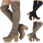 Ladies Chunky Block Heel Long Over The Knee Thigh High Platform Suede Boots 70's
