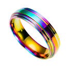 1pc Men/Women Colorful Rainbow Band Ring Personality Titanium Steel Ring
