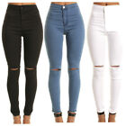 New Women Slim Denim Ripped Pants High Waist Stretch Jeans Pencil Trousers S-XL