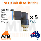 5 x Push in Air Fitting Male Elbow 4mm to 12mm Outer Diameter Pneumatic Pack 5Pc