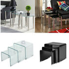 Nest of 3 Tables Black Clear Glass Coffee Side End Table High Gloss Living Room