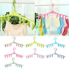 Underwear Socks Clothes Laundry Hanger Hook Drying Rack With 8 Clips Useful