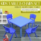 Kids Toddler Children Square Activity Table and 4 Same Colour Chairs 60x60cm S