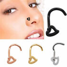 Hollow Heart Shaped Nose Stud Screw 316LSurgical Steel Choice Of 4 Colours 20G