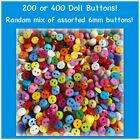 6mm 2 Hole Buttons 200 or 400 Plastic Assorted Mix Sewing Crafts Doll Buttons