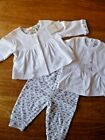SPANISH WHITE  COTTON  JACKET, TEE AND TROUSERS  NEWBORN,O/3, 3/6  MONTHS